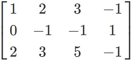 Example to calculate the rank of a matrices
