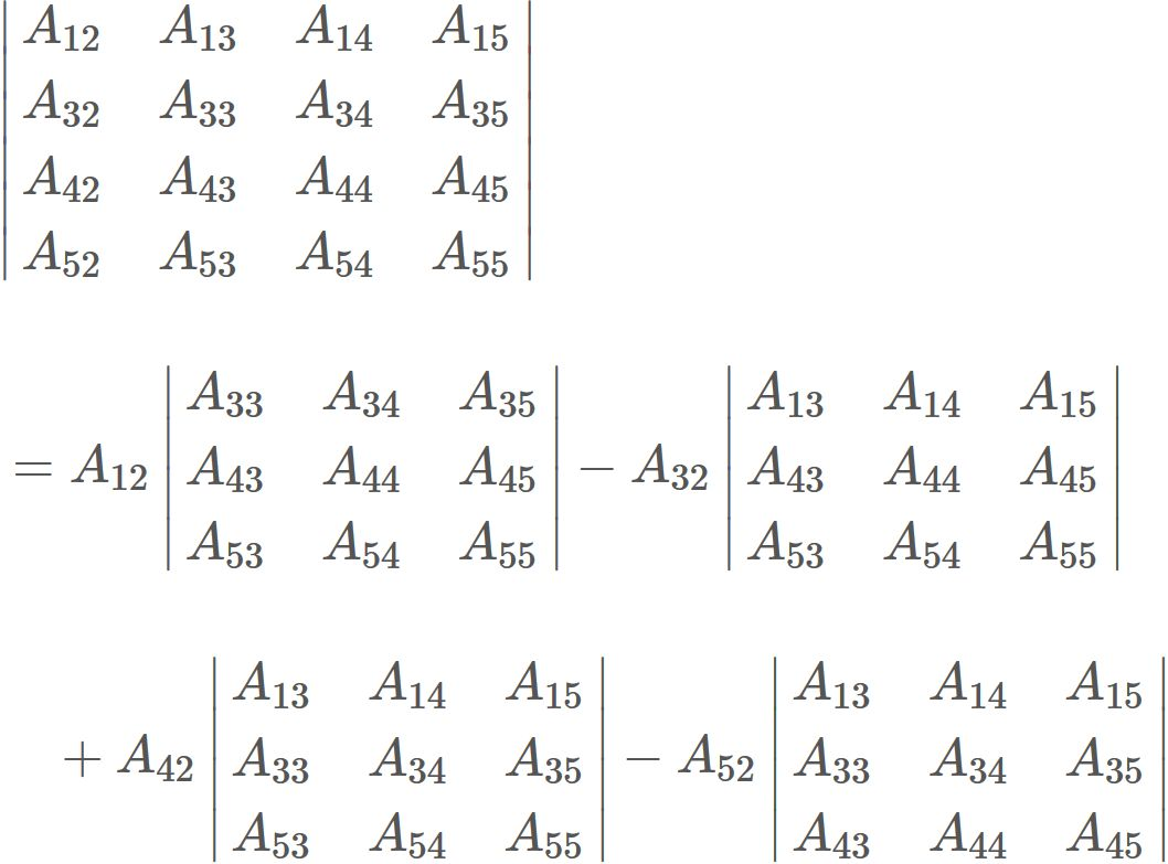 Determinant of a 5x5 matrix - SEMATH INFO -