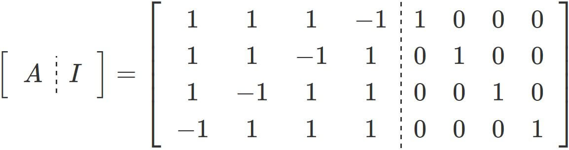 A simple example of inverting a 4x4 matrix using Gauss